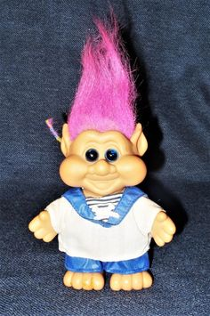 Rare 1991 I.T.B.Troll Doll w/ Pink Hair Blue Eyes in Sailor Suit Pointy Ears EUC #ITB #DollswithClothingAccessories