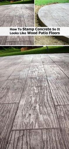 25 Cool Patio Floor Ideas for Outdoor - Betonterrasse - Garden Floor Wood Stamped Concrete, Diy Concrete Patio, Concrete Patio Designs, Backyard Patio Designs, Wood Patio, Diy Patio, Patio Ideas, Landscaping Ideas, Cheap Patio Floor Ideas