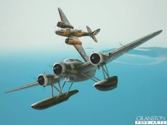 One of the most unorthodox and daring pilots of World War II, '<i>Warby</i>' Warburton was the only bomber pilot to become an ace, shooting down a Savoia Marchetti SM.79, a Macchi MC.200 and three Cant Z.506Bs, one of which is depicted here being attacked by Warburton's Martin Maryland AR705.