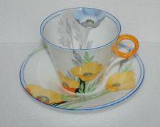 EXTREMELY RARE STUNNING VINTAGE SHELLEY REGENT SHAPE YELLOW POPPIES CUP SAUCER