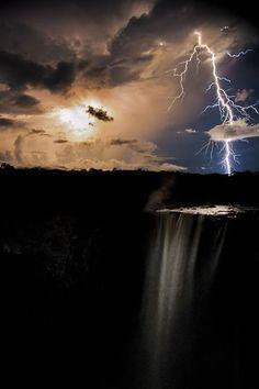 James Broscombe, Lightning at Kaiteur Falls, The Natural World Winner, 2011