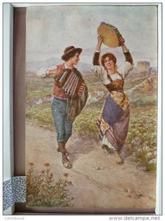 CHROMO illustrateur FERRANTI costumi romani couple accordeon tambourin voyagé 1918 timbre 2x torino ferrovia et ferrara