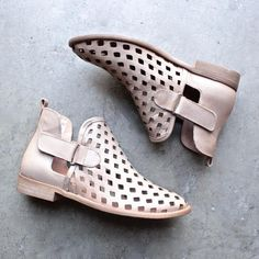 musse & cloud - caila taupe leather perforated festival ankle booties - shophearts - 1