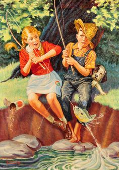 'Young Girl And Boy Fishing' by Revere F. Wistehuff (1900 – 1971, American) <> (summer, vintage, art)