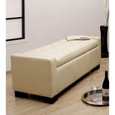 Tufted Leather Storage Bench Creme - Overstock™ Shopping - Great Deals on Benches