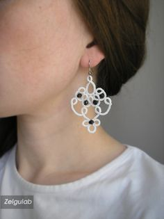 Wedding tatted Earrings, white-black handmade lace, frivolite