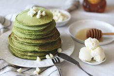 Matcha Honey Pancakes- almost as easy to make as they are to eat! Made with Aiya's Cooking Grade Matcha. #matcha #breakfast #pancakes