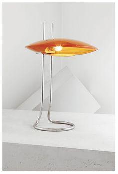 Flavio Civiletti; Chromed Tubular Steel and Lacquered Metal Adjustable Table Lamp for Luxgiani, c1960.