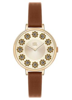 Ladies Brown Strap Floral Dial Watch by Orla Kiely