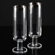2 Vintage Sektkelche Glas Silberrand oder Platinrand Sektgläser 16,2 cm hoch F