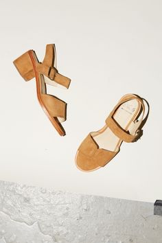 No.6 Taylor Buckle Sandal in Ochre Suede