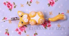 Cute cat charm with dangly tail phone strap polymer clay £2.50