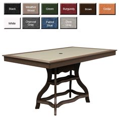 "Amish Outdoor Rectangular Counter Table made from 100% HDPE Poly Lumber and stainless steel hardware. Perfectly cut with smooth edges and unique base style. Tables include 1-5/8"" umbrella hole in center. Select matching counter chairs (See Below) As Shown: Brown Table Legs & Apron with Weatherwood Table top Options: Ten solid Poly Colors or Two-Tone combinations, 3 sizes."
