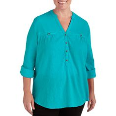 970f3a2707b822 Faded Glory - Women s Plus-Size Woven Blouse with Mandarin Collar -  Walmart.com