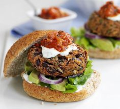 These veggie burgers are a doddle to make and the toppings make them wonderfully moist - cook from frozen to save time