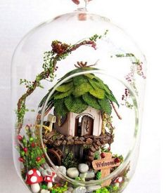 DIY Miniature Fairy House  Home Sweet Home by LazyKittyCrafts, kr350.00