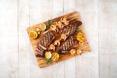 Grilled beef steak and shrimp — an easy but elegant surf and turf recipe. How To Grill Steak, Beef Steak, Bbq Grill, Barbecue, Grilling, Steak And Shrimp, Prawn Shrimp, Pork Tenderloin Recipes, Steak Recipes