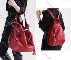 nova senhora da moda bolsa de couro sintético bolsa mochila mochila mochila vermelha preta 5225