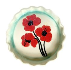Ceramic Pie Plate, Tart Plate, Quiche Plate, Poppies, White, Red,  Green, Wedding Gift, Mothers day,kitchen,bakeware on Etsy, $40.00