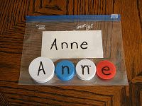 Teach child how to spell their name.  Write each letter of their name on a milk cap and let them use a note card with their name written on it for reference.  Store in ziploc so they can play with it over and over again.
