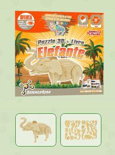 PUZZLE 3D + LIVRO ELEFANTE Descobre: A diversidade de animais que podes encontrar no nosso planeta - Características e curiosidades sobre os elefantes - Como se comportam os elefantes em manada e a importância desta no desenvolvimento das crias - Como construir um fantástico puzzle 3D de um elefante