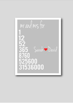 One year anniversary print, printable art, anniversary gift, personalised print, wedding gift, first anniversary, grey decor. £7.00, via Etsy.
