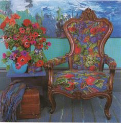 A chair designed and stitched in needlepoint by Kaffe Fassett