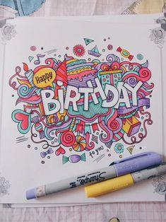 Doodle Ucapan Happy Birthday, Happy Easter, dan Thank You Happy Birthday Doodles, Happy Birthday Drawings, Happy Birthday Art, Birthday Card Drawing, Birthday Cards For Friends, Happy Birthday Painting, Happy Doodles, Doodle Art Name, Cute Doodle Art