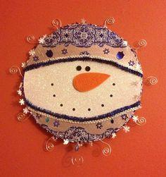 Sparkly the Snowman Chanukah  Holiday Card  Holder tm. on Etsy, $30.00