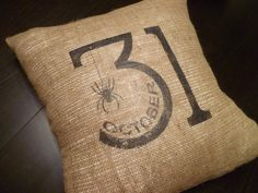 "18 x 18 ""October 31"" Halloween Burlap Pillow Cover. $25.00, via Etsy."