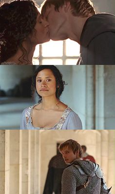 Arthur + Gwen :) <<< Loved them! I really liked Merlin, but the thing that would have made me LOVE it would have been more Arthur, Gwen and Arthur and Gwen, Arthur And Guinevere, Merlin And Arthur, King Arthur, Best Tv Shows, Best Shows Ever, Favorite Tv Shows, Bradley James, Smallville, Merlin Serie