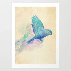 Blue Bird Art Print by Terry Fan - $18.00