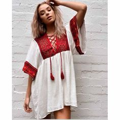 Bohemian Hippy Embroidered Mini Dress Hippie Look, Hippie Bohemian, Bohemian Fashion, Boho Gypsy, Hippie Style, Bohemian Style, Tan Boots, Stunning Dresses, Mini Dresses