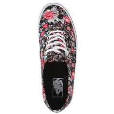 Vans Authentic Black Multi Floral Sneakers ($45) ❤ liked on Polyvore featuring shoes, sneakers, laced shoes, black lace up shoes, lacing sneakers, black lace up sneakers and floral shoes