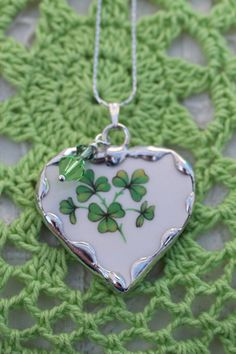Broken China Jewelry Shamrock Heart by Robinsnestcreation1 on Etsy