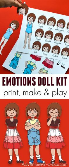 Instead of dresses, the printable dress-up paper doll changes poses and expressions to convey a wide array of emotions and teach children to successfully read other people's body language. In addition to that, it's a fun storytelling prompt and a simple p