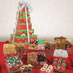 Holiday Snack Tower Gift Set having Special Romantic Christmas Mix, Christmas Gift Baskets, Unique Christmas Gifts, Holiday Gifts, Triple Chocolate Cookies, Pecan Cookies, Chocolate Bark, Chocolate Covered Raisins, Snack Box