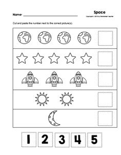 Space Cut and Paste Numbers B&W Worksheets from Worksheet Teacher Numbers Kindergarten, Numbers Preschool, Preschool At Home, Preschool Worksheets, Preschool Activities, Space Classroom, Life Skills Classroom, Classroom Themes, Early Learning Activities