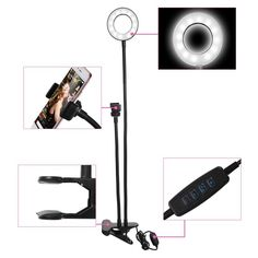 Light with  Phone  Holder for Youtube Live  #light #makeup #holder #phone #accessories #beauty #hacks #decor #home #camera Ring Light With Stand, Led Ring Light, Home Photo Studio, Phone Clip, Mobile Holder, Youtube Live, Black And White Interior, Phone Holder, Makeup Holder