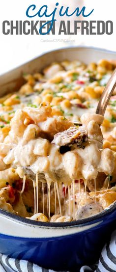 Cajun Chicken Alfredo in skillet or casserole form! The homemade Alfredo sauce is incredible plus it bursting with juicy chicken, sausage and bell peppers with a hidden layer of smoked gouda that is to live for! It's make ahead friendly and you can customize the heat, protein and veggies! #chickenrecipes #chicken #chickenbreasts #pasta #pastarecipes #casseroles #dinner #dinnerrecipes #dinnerideas #recipes #recipes #recipeoftheday #recipeideas #recipe #Cajunchicken #Alfredo #Alfredosauce
