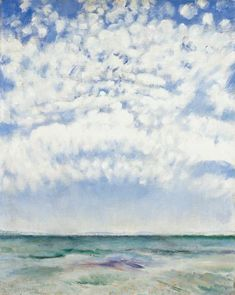 Csók, István , View of the Lake Balaton, Oil, Canvas 4 Elements, Oil On Canvas, Waves, Budapest, Clouds, Sky, Beach, Painting, Outdoor