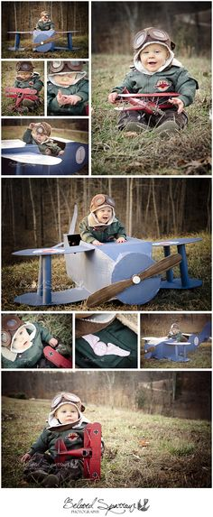 One Year Old Boy Portrait Session | One Year Old Portrait Ideas | Vintage Airplane Birthday Portrait | Baby Aviator Pilot Portraits | Cardboard Airplane Prop | Peachtree City Professional Photographer www.belovedsparrow.com