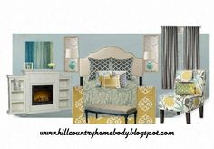 Blue, yellow, gray moodboard for master bedroom makeover.  www.hillcountryhomebody.blogspot.com