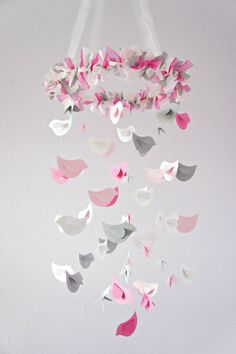 Pink & Gray Bird Nursery Mobile, Shower Gift, Photographer Prop. $63.00, via Etsy.