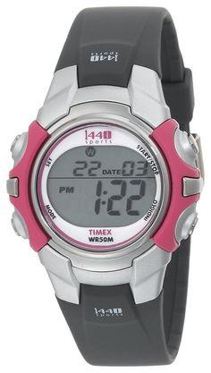 Timex Women's T5J151 1440 Sports Digital Black/Pink Resin Strap Watch Price: $14.88