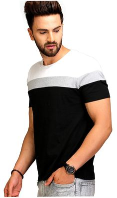 Colourblocked Cotton Round Neck T-Shirt Mens Casual T Shirts, Cotton Shirts For Men, Mens Tops, New T Shirt Design, Shirt Designs, Camisa Polo, Mens Clothing Styles, Clothing Accessories, Slim Man