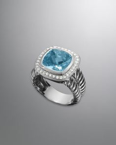 Albion Ring with Blue Topaz and Diamonds by David Yurman at Neiman Marcus.