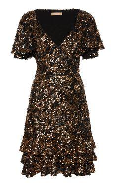 Sequin Silk-Blend Tiered Ruffle Dress by Michael Kors Collection | Moda Operandi