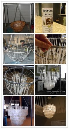 DIY Capiz Shell Chandelier Tutorial DIY Tag is part of Diy lighting - Capiz Shell Chandelier, Outdoor Chandelier, Hula Hoop Chandelier, Chandelier Crystals, Iron Chandeliers, How To Make Chandelier, Outdoor Lighting, Hallway Chandelier, Handmade Home Decor