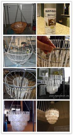 DIY Capiz Shell Chandelier Tutorial DIY Tag is part of Diy lighting -